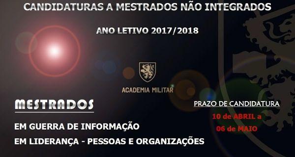 CANDIDATURAS A MESTRADOS NÃO INTEGRADOS - ANO LETIVO 2017/18